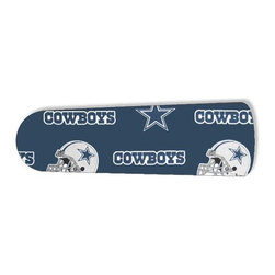 """Dallas Cowboys Helmet 52"""" Ceiling Fan BLADES ONLY - These are beautiful custom blades for your home. This is a set of 5 brand new high quality designer ceiling fan blades. The surface is easy to clean with a damp cloth. These are universal for 52"""" fans. Double the measurement from the center of the fan to the tip of one blade. Several different mediums are used, all are non-toxic. You can be confident that this product will last for years to come. You'll love showing off your new unique blades. These are not licensed products, but are made with licensed materials."""