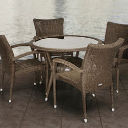 "Lamps Plus - Contemporary Atlantic Bari 5-Piece Gray and Beige Outdoor Dining Set - Atlantic Bari 5-Piece Gray and Beige Outdoor Dining Set. Gray and beige wicker finish.  Atlantic collection. Aluminum and Synthetic Wicker frame. 5 individual pieces. Great functionality. Some assembly required. 1 year warranty. Includes 4 stacking armchairs and 1 table. Round table with glass dimension is 40 1/2"" deep 29"" high. Stacking Armchairs dimension is 29"" wide 23 1/2"" deep 35 1/2"" high.  Gray and beige wicker finish.  Aluminum and Synthetic Wicker frame.  Atlantic collection.  5 individual pieces.  Great functionality.  Some assembly required.  1 year warranty.  Includes 4 stacking armchairs and 1 table.  Round table with glass dimension is 40 1/2"" deep 29"" high.  Stacking armchairs dimension is 29"" wide 23 1/2"" deep 35 1/2"" high."