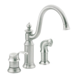 Moen - Moen S711CSL Waterhill 1-Handle High-Arc Bar Faucet w/Spray (Stainless Steel) - The intricate charm of the Waterhill collection will instantly add character to your home. A range of products provide all the design features necessary to enrich your space.