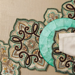 Marrakesh Runner - Magnificent shell motifs stitched at the corners pay homage to architectural grandeur in the Baroque Napkin in White and Gold.  A striking accent for a richly-appointed table, this elite dinner napkin offers aristocratic sumptuousness with its mix of pure white with subtle metallic gold accents.  A fine line of gold stitching around the edge plays a simple counterpoint to the dramatic corner embroidery.