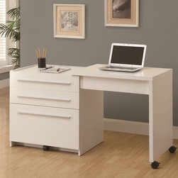 Monarch Specialties - Monarch Specialties 30x22 Rectangular Slide-Out Desk w/ Storage Drawers in White - This sleek contemporary workstation offers a compact work space that is ideal for apartments, condos, or smaller homes. With clean lines in a warm white finish, this desk will blend easily with your home decor. The top surface extends to the side, with casters at the base for easy mobility, creating a knee hole space for comfortable seating. A storage space is revealed to keep your desk supplies organized, with a medium storage drawer and convenient lateral file drawer below. Add this desk to your home for a functional workstation, where ample storage options, excellent functional features, and sophisticated style come together.