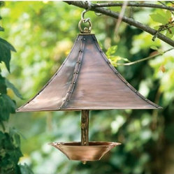 Antique Copper Finish With Brass Accents Grecian Bird Feeder H Potter Bird Feede