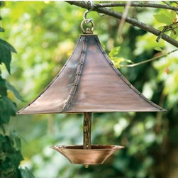 Antique Copper Finish With Brass Accents Grecian Bird Feeder H Potter Bird Feede - This copper feeder is great because it's different. I love the little scoop of a bowl attached by a limb shaped piece of brass. The copper and brass will gain a nice patina over time.