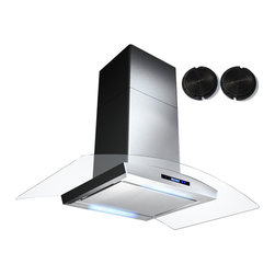 GOLDEN VANTAGE - GV 36-Inch Stainless Steel Island Range Hood W/Carbon Filter For Ductless Option - Our Contemporary Europe design range hoods capture the most pollutants, grease, fumes, cooking odors in a quiet way but maintain a strong CFM From 300-900 depends on the style or model you choose. GV products not only provide top notch quality of material, we also offer led lighting, quiet chamber blower,adjustable telescopic chimney. All of our range hoods can convert to ventless/ductless options if outside exhaust not permitted.
