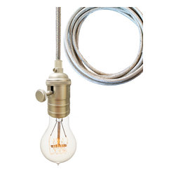 Hammers & Heels - Stainless Steel Cord Bare Bulb Pendant Light- Brushed Nickel - SIMPLE AND MINIMALIST BARE BULB PENDANTS