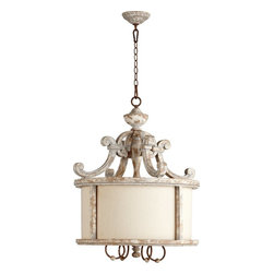 Quorum Lighting - Quorum Lighting La Maison Traditional Pendant Light X-65-4-2508 - Elegant old world European details give an upscale look to this Quorum Lighting Pendant light. From the La Maison Collection, it features a Manchester Grey finish with Rust accents that give the entire fixture a subtle shabby chic look and feel. A clean linen-colored fabric shade and subtle drum shade shape complete the look.