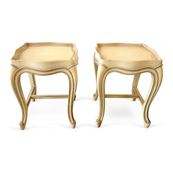 Baker French Provincial Tea Tables, Pair - Cream glazed french provincial tea tables by Baker. Perfect as side tables or to cluster in front of a sofa or chairs. In excellent vintage condition, a few minor chips to finish as seen in last photo on website. Maker's mark.