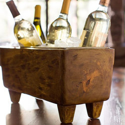 Blonde Wood Wine Trough - This good-humored mango wood bucket would make a great centerpiece for drinks at your next party.