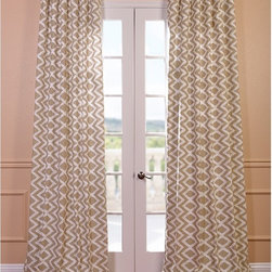 EFF - Palu Printed Cotton Curtain Panel - The beige and white printed pattern of this stunning Palu curtain panel will make a splendid addition to your home decor. This curtain is made of cotton, features a weighted hem and has a shade-enhancing lining.