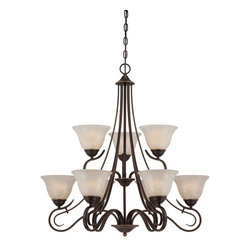 Quoizel - Quoizel LLN5009PN Lillian Chandelier - Graceful and welldesigned makes the Lillian collection a sure hit.  The lovely bell shades, painted in a stunning white flake finish, sit atop gentle curves finished in an opulent Palladian Bronze.