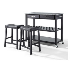 "Crosley - Solid Granite Top Kitchen Cart/Island With 24"" Black Upholstered Saddle Stools - Dimensions:   18 x 42 x 36 inches"