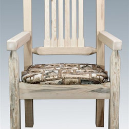 Montana Woodworks - Wooden Captains Chair - Contoured style. Hand crafted. Heirloom quality. Comfortable wildlife upholstered seat. Solid lodge pole pine legs. Rustic timber frame design. Made from American grown wood. Made in USA. No assembly required. Seat height: 18 in.. Overall: 19 in. W x 18 in. D x 38 in. H (25 lbs.). Warranty. Ready to Finish. Use and Care InstructionsThe captain's chair by Montana woodworks is the perfect addition to your dining set. Placed at the head of the table or used all around, these chairs are sure to please the captain of your table!