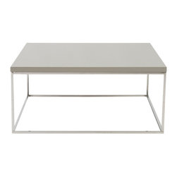 Eurostyle - Eurostyle Teresa Square 35x35 Coffee Table in Taupe Lacquer & Stainless Steel - There's plain and there's perfect.  This collection of 4 Teresa table designs are not only perfectly designed for strength and timeless style, they work beautifully together.  Go for the group! What's included: Coffee Table (1).