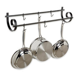 Enclume - Decor Utensil Rack w Scrolled Ends - Elevate your kitchen's style while adding essential, space-saving goodness with Enclume's Décor line pot rack. A step above traditional wall-mounted racks, this entry has meticulously scrolled ends, hand-forged highlights and spacious hanging area. Rugged, protective hammered steel finish adds life to your purchase. * Adds flair to the common wall-mounted rack. A step above traditional wall-mounted racks. Made from steel. 25 in. W x 5 in. D x 18 in. H. Includes mounting instructions. Minimal assembly required. Hand-forged in the traditional fashion. Meticulously scrolled ends. Hand-forged highlights and spacious hanging area. Rugged, protective hammered steel finish. decor collection