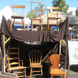 Vintage Home Finds - Every era, every condition, every part of the globe, vintage chairs for everyone! Patrice Curedale snapped this photo of one of 160 booths of vintage goods at Topanga Vintage Market.