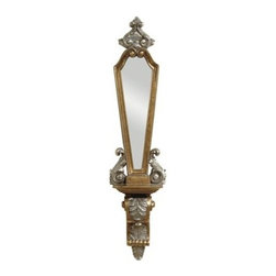 Bassett Mirror - Lucinda Antique Gold Mirrored Sconce - Lucinda Antique Gold Mirrored Sconce by Bassett Mirror