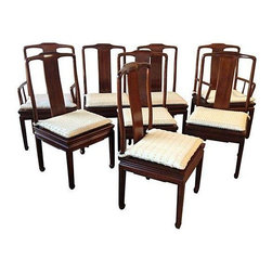 "Used Henredon Asian Inspired Dining Chairs - Set of 8 - Fantastic set of eight vintage Henredon Asian Inspired Dining Chairs, all in excellent vintage condition! Six side chairs and two armchairs. All chairs come with custom snap on removable seat cushions. Mild vintage wear. Maker's Mark on bottom side of seat on all chairs.     Dimensions: Side chairs measure 19.5"" L x 19"" W x 40.5"" H, seat 17.5""H; Armchairs measure 22""L x 19""D x 40.5H, seat 17.5""H, arm 26""H."