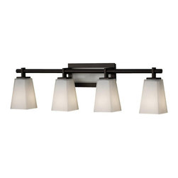 Murray Feiss - Murray Feiss Clayton Bathroom Lighting Fixture in Oil Rubbed Bronze - Shown in picture: Clayton Vanity Strip in Oil Rubbed Bronze finish with White Opal EtchGlass