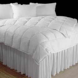 Summer Weight Luxury Down Comforters - Made In Hungary - Our luxurious summer weight weight comforters are filled with Hungarian white goose down to provide loft for insulation and light weight comfort for all seasons.  White goose down has a three-dimensional structure that traps air for warmth, yet allows perspiration to dissipate, for unsurpassed comfort all year round.  Covered with lavish Egyptian cotton and finished with double stitched-piped edges. This light weight comforter features a sewn-through box construction, the preferred design for summer and light weight products, to prevent shifting. Designed for use in warmer bedrooms, climates or seasons, this comforter helps maintain a comfortable body temperature without adding extra weight. Filled in and imported from Hungary. Lifetime Warranty on Craftsmanship.