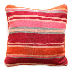 Baba Souk - Striped Moroccan Pillow - Awesome striped pillow found in the depths of the souk market! Handmade by morrocan craftspeople. Add some candy stripes to your decor!
