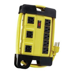Coleman Cable - Metal Workshop Power Block 8 Outlet 6' - WORKSHOP METAL 8-OUTLET POWER BLOCK. 6' CORD YELLOW. Ideal for workshops. garages and basements and features (8) grounded 3-pronged outlets and (3) transformer outlets. The transformer outlets are specially spaced apart to accommodate larger adapter plugs without blocking use of other outlets. constructed of heavy-duty metal to resist impact and features a built-in cord wrap for easy cord storage. The light-up power switch displays when power is on and comes with a built-in resettable circuit breaker in the event of accidental overload.