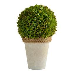 Picnic At Ascot - Boxwood - Bring a touch of garden charm into your home. Our faux Boxwood Ball topiary with lush foliage is set in a faux stone pot with rope detailing. Each leaf is individually crafted to recreate the natural beauty of this plant.