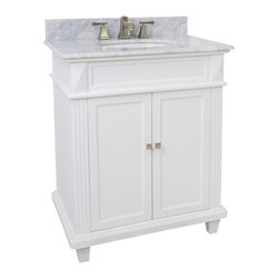"Hardware Resources - Lyn Design VAN094-30-T-MW - This 30"" wide MDF vanity features a sleek white finish, clean lines and tapered feet to give a modern feel. A perfect alternative to a pedestal sinks. A large cabinet provides storage. This vanity has a 2CM white marble top preassembled with an H8809WH (15"" x 12"") bowl, cut for 8"" faucet spread, and corresponding 2CM x 4"" tall backsplash."