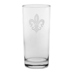 Rolf Glass - Grand Fleur De Lis Cooler 15oz, Set of 4 - Tall and long and lovely, this set of glasses won't disappoint. You can use them for everything from lemonade to Mai Tai's. Made from cut glass. A single elegant fleur-de-lis is sand-etched on the crystal.