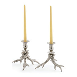 "Silver Nest - NIckel Antler Candleholders- Set of 2- 6.5""h - NIckel plated brass with polished nickel antler candleholders- Set of 2"