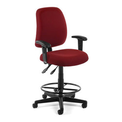 OFM - OFM Posture Task Chair with Arms and Drafting Kit in Wine - OFM - Office Chairs - 1182AADK803 - You'll always have great posture with OFM's 118-2 Posture Series Task Stool with Arms. This task stool features built-in lumbar support 7-position adjustable arms plus adjustable back depth and height pitch and gas-lift seat height adjustment. High-quality fabric is rated to exceed 150000 double rubs and the seat back is fully upholstered. The wheeled 5-star base adds stability and includes adjustable foot ring. Weight capacity up to 250 lbs.