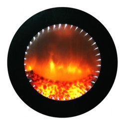 Yosemite Home Decor - Echo White - Contemporary wall mounted electric fireplace with a twist.  This circular unit is outlined with blue LED lights and the center is filled with realistic dancing flames. When the flames are turned off the entire face of the unit is a mirror.  This unit does not produce heat so it can be recessed into your wall for a more flush look.