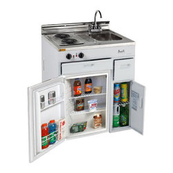 """Avanti - 30"""" Complete Compact Kitchen - -Compact kitchen: stainless steel sink with chrome faucets"""