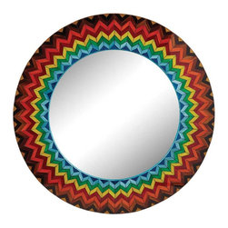 Lazy Susan - Lazy Susan Vibrant Multi Starburst Wall Mirror - This Round Mosaic Mirror Is A Pure Statement Piece.  Based On The Long Tradition Tradion of Bold Italian Design/ This Piece Combines Color/ Pattern/ And Precision Craftsmanship.  The Mulicolor Glass Pieces Create A Spiral Chevron Pattern That Works Well With Transitional As Well As Eclectic Modern Decor.