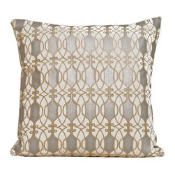 "Kevin O'Brien Studio - Links Velvet Pillow - Scroll-like lines link together across the fabric and form an undulating, ornate pattern that is reminiscent of Baroque and Art Nouveau iron work. Features: -Links collection. -Material: Velvet. -Zip closure. -Includes a feather / down insert. -Made in USA. Dimensions: -Medium: 18"" H x 18"" W x 6"" D, 2 lbs. -Large: 22"" H x 22"" W x 6"" D, 2 lbs."