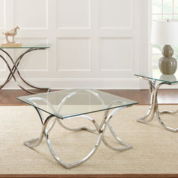 """Steve Silver Furniture - Steve Silver Leonardo 3 Piece Coffee Table Set - The Leonardo cocktail table will make a bold statement in your home. The collection pieces are constructed of chrome plated metal along with beautiful 10mm tempered glass that features a polished edge. The frame's intricate bends and shapes create a truly unique and eye-catching design. The 36"""" x 36"""" cocktail table top pairs with the 19"""" base. - LN300CT-CB-3-SET.  Product features: Chrome plated metal base and tempered glass; 10mm tempered glass tops with a polished edge; Chrome plated metal base with unique shaping and design. Product includes: Cocktail Table (1); End Table (1); Sofa Table (1). 3 Piece Coffee Table Set belongs to Leonardo Collection by Steve Silver."""