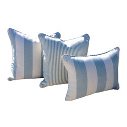 PillowFever - Cotton lumbar pillow in Spa stripe with matching color pipping. - Pillow insert is not included!