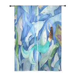 "xmarc - Mermaid Art Sheer Curtains, 30"" X 84"", Mermaid And Dolphin Party - The windows have it with these sheer, beach decorative curtains. Romantic and flowing, these elegant chiffon window treatments finish a room with the perfect statement."