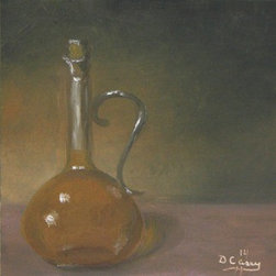 "Kitchen Painting - Olive Oil 001 (Original) by Dave Casey - I found this beautiful oil bottle in a thrift store and it was just begging to be painted.  I just love how the glow of the oil came out in the shadow.  This would look great in a 6"" floater frame from Randy Higbee Gallery."