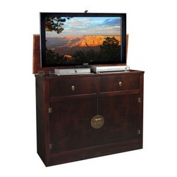 Asian Inspired TV Lift Cabinets - Hideaway Brown TV Lift Cabinet