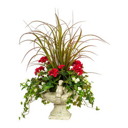 Red Geranium with Grass Silk Floral Arrangement - These flowers have so much flare, they'll never fade. Really — this pristine arrangement is made out of silk. Forget the worry of maintaining cut flowers and add new life to your home with this luscious bouquet of grass, ivy and geraniums, all housed in a romantic antiqued cherub urn.
