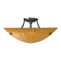 LBL Lighting - Wilt Bowl Semi-Flushmount by LBL Lighting - The soft ripples and warm tone of the LBL Lighting Wilt Bowl Semi-Flushmount add a distinct artistic element into an interior lighting scheme. The shade is an organic bowl of Italian handcrafted Amber glass, edged in transparent crystal for supreme sparkle. The strong metal frame is available in two complementary finishes. For more than 40 years, Illinois-based LBL Lighting has created innovative lighting fixtures based on the principles of beauty, originality and quality. Such values remain evident in their current line of fixtures, which feature distinctive elements like organic art glass, solid construction and the latest low voltage and LED lighting technology.