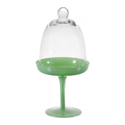 "Home Essentials - Green Cupcake Stand with Glass Dome - Homemade treats look twice as nice perched on this elegant cupcake stand that comes with a coordinating glass dome to keep desserts oven fresh and away from sticky fingers. Everybody loves cupcakes, and they'll love them even more when you showcase them on this tempting green display stand. Be ready for any celebration with this presentable and attractive stand! * Dimensions: 5""D x 10""H"