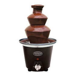 Nostalgia Electrics - Nostalgia Electrics CFF-965 Chocolate Fondue Fountain Multicolor - 082677139658 - Shop for Chocolate Fountains from Hayneedle.com! All the rage for parties chocolate fountains are fun easy and provide delicious dessert and the Nostalgia Electrics CFF-965 Chocolate Fondue Fountain is sure to be a gathering spot at your next get-together. This compact chocolate fountain holds 2 pounds of chocolate drizzled over its top. Your guests will have a delightful time dipping fruit pretzels marshmallows or cake into this fountain. The durable plastic outer and base offer easy mobility and clean-up. This fountain is a perfect party companion and makes a wonderful gift. How Much Chocolate Do I Need?20 guests or less: 4 lbs.20 - 50 guests: 8 lbs.50 - 100 guests: 12 lbs.100 - 150 guests: 16 lbs.150 - 200 guests: 20 lbs. Don't forget to order skewers! About Nostalgia Electrics: Nostalgia Electrics designs manufactures and markets a unique line of small electric appliances. They specialize in fun innovative products that playfully fuse design and function. From fondue fountains and snow cone machines to the Kegorator stainless-steel beer keg fridge Nostalgia Electrics continually strives to develop home appliances that bring to our lives a little humor a little break from the ordinary. Nostalgia offers a full line of contemporary and throw-back popcorn makers for home and commercial use.