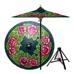 Oriental Unlimted - 7 ft. Tall Summer Roses Patio Umbrella w Bamb - Includes Bamboo stand. Handcrafted and hand-painted by master artisans. 100% Waterproof and extremely durable. Umbrella shade can be set at 2 different heights, 1 for maximum shade coverage and the other for a better view of the shade. An optional base, which secures the umbrella rod and shade against strong winds and rain. Patio umbrella rod and base is constructed of stained oak hardwood for a rich look and durable design. Umbrella shade is made of oil-treated cotton. Minimal assembly required. Canopy: 76 in. D x 84 in. HRoses are highly symbolic the world over, representing love and passion. This lovely umbrella makes the most of our craftsman's rich, gorgeous palette and sumptuous lacquer finish to showcase a fresh bunch of Red roses in full bloom amidst a lush blanket of leaves.