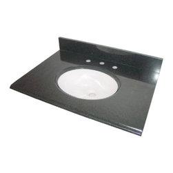 """Pegasus - Pegasus Black Granite Vanity Top 37 x 22, White Bowl (PE37684) - Pegasus PE37684 Black Granite Vanity Top 37"""" x 22"""", White Bowl"""