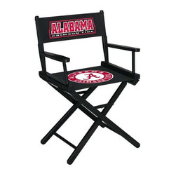 Imperial International - University of Alabama NCAA Directors Chair- Table Height - Take a look at this great Table-Height Director's Chair. It has black stained hardwood, paddle arms, and a straight line leg rack. It's custom manufactured for you in the heart of Tennessee. It's perfect for your Man Cave, Game Room, Garage or Basement. Logos are screen printed on the back and seats of a high quality 16oz duck cloth canvas. Suitable for indoors and outdoors.