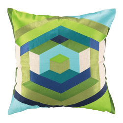 Trina Turk Hexagon Blue Embroidered Pillow - This colorful graphic throw pillow takes a fresh look at the hexagon pattern.