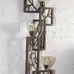 Iron Branches, Wall Sconce - This decorative wall sconce features dark bronze metal with light green luster glass candle cups. White candles included.