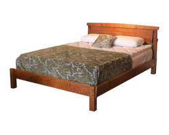 TY Fine Furniture - Sunrise Platform Bed - The Sunrise Platform Bed is custom crafted from curly cherry wood (shown) to invite sweet dreams, naturally. The sleek, minimalist lines of this Asian-inspired design are easily scalable to suit your specific needs.