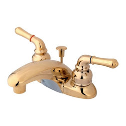 "Kingston Brass - Polished Brass Two Handle 4"" Centerset Lavatory Faucet with Retail Pop-up KB622 - This bathroom faucet features a timeless appeal with its combination of old and new worlds. This faucet has a deck mount setup and features a 4"" centerset installation. The body is fabricated from solid brass for durability and long-lasting use. The color finish is made of polished brass for that golden reflective shine, as well as resisting scratches, corrosion and tarnishing. The spout has a reach of 4-1/4"" and a height of 2-3/4"". The handles allow for easy management of water volume and temperature. The faucet operates with a washerless disc valve for droplet-free functionality with the water measured 2.2 GPM (8.3 LPM) and a 60 PSI maximum rate.  An integrated removable aerator is inserted beneath the spout's head piece for conserving water flow. A pop-up drain in a matching finish is included. All mounting hardware is included and standard US plumbing connections are used. A 10-year limited warranty is provided to the original consumer.. Manufacturer: Kingston Brass. Model: KB622. UPC: 663370562204. Product Name: Two Handle 4"" Centerset Lavatory Faucet with Retail Pop-up. Collection / Series: MAGELLAN. Finish: Polished Brass. Theme: Contemporary / Modern. Material: Brass/Zinc Alloy. Type: Faucet. Features: Drip-free washerless cartridge system"
